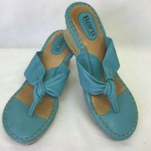 BOC BORN Sandals Wedges Turquoise Leather Upper 9
